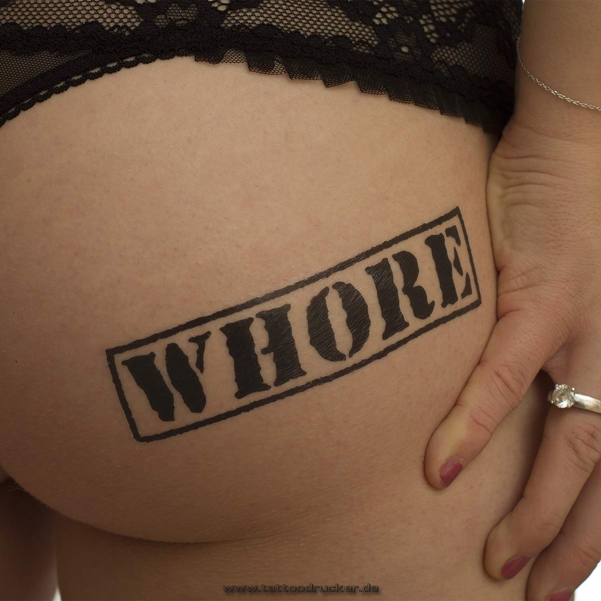 Sello Whore Tattoo Texto en Negro – Sexy Kinky Tattoo, Negro, 1 x ...