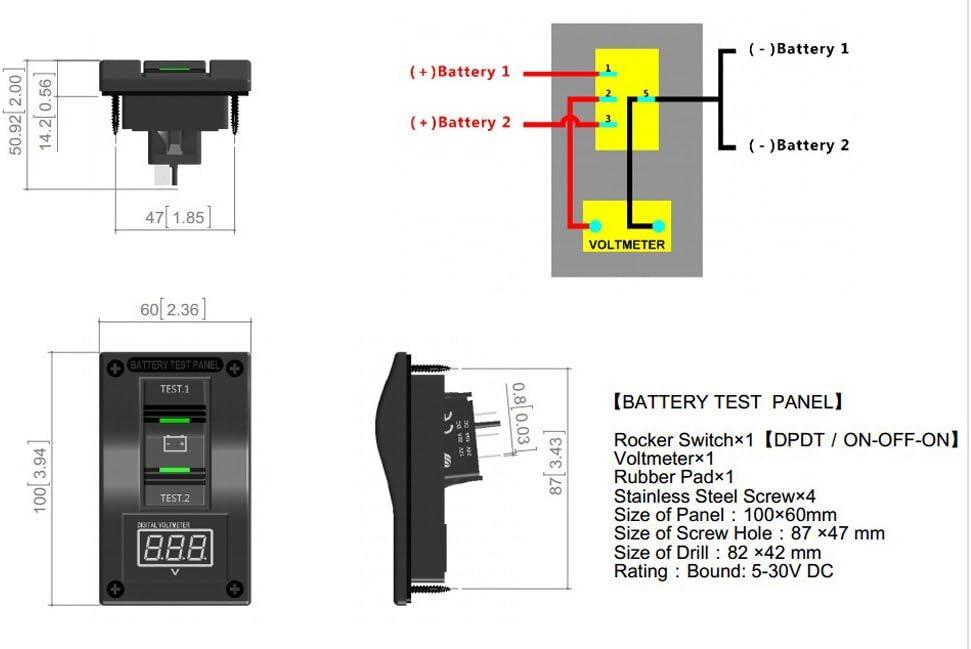Akozon Battery Test Panel,12V DC Marine Boat Voltmeter LED Dual Battery Test Panel Rocker Switch ON-OFF-ON