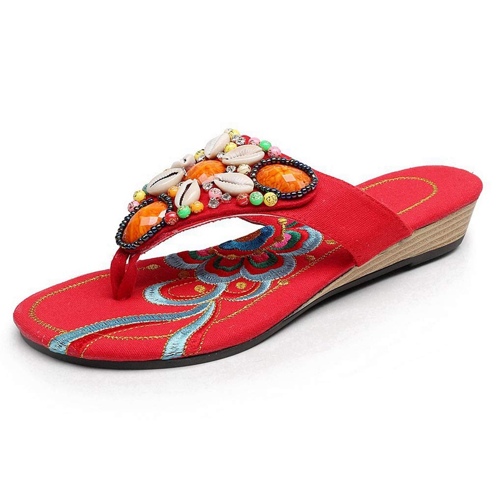 CYBLING Women's Bohemian Beaded Summer Sandals Embroidered Slip on Beach Flip Flop Flat Thong Shoes