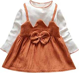 LuckyBB Baby Girl Dresses Bow Patchwork Kids Clothes Children Party Dresses