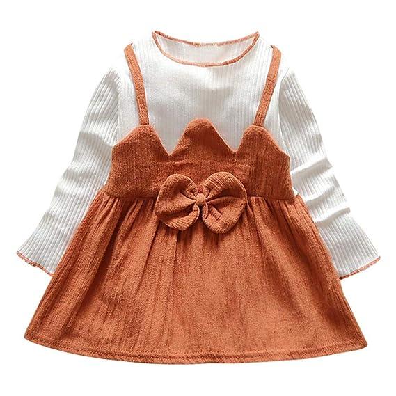 Ropa Bebe Niña K-Youth Vestido Patchwork de Arco con Manga Larga Niñas Verano Recien Nacido Vestidos para Niña 0-24 Meses Princesa Primavera Fiesta Bautizo: ...
