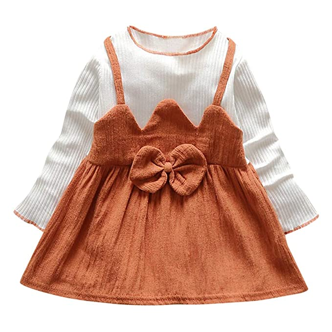aec534998 YUAN Toddler Kids Baby Girl Clothes Striped Patchwork Bow Princess ...