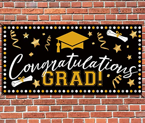(3omething New Graduation Banner Photo Booth Decorations 2019 - Grad Congrats Backdrop Wall Party Decor Supplies)