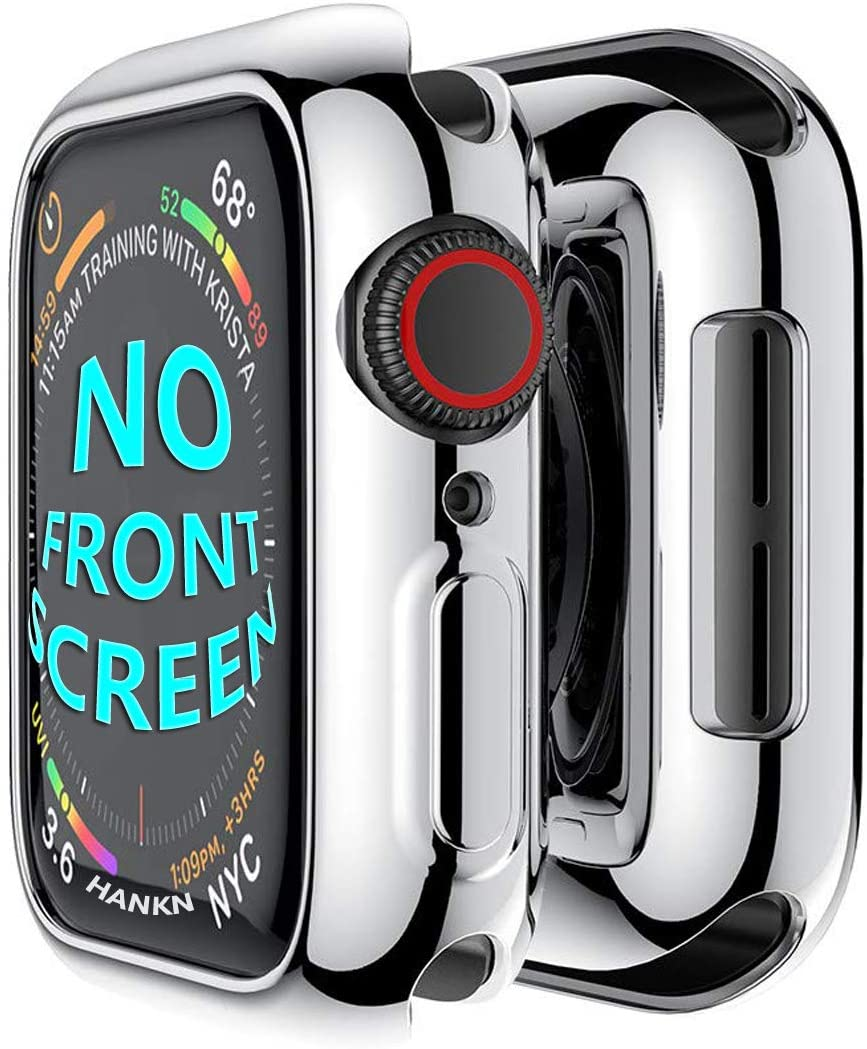 HANKN Case Compatible with Apple Watch Series 4 5 6 SE 44mm, Soft TPU Plated Shockproof Iwatch Shell Cover Bumper [No Front Screen Protector] (Silver, 44mm)