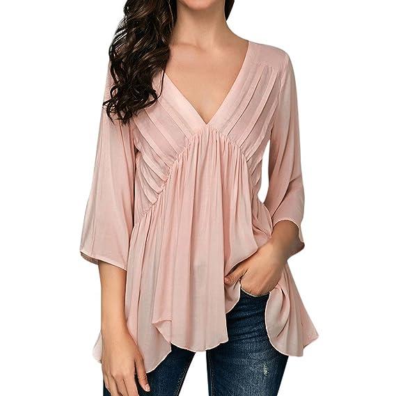 Blusa Mujer Elegante Sexy 2018,BBestseller Camiseta de Camisa a Rayas Casual Casual de Mujer