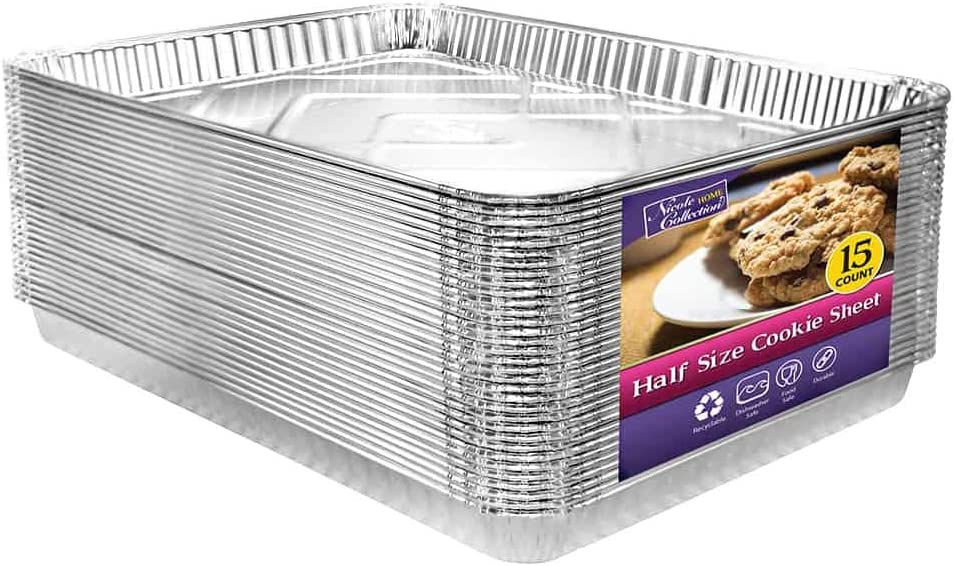 Aluminum Pans Half Size Cookie Sheet 15 Count | Durable Nonstick Baking Sheets 17.75