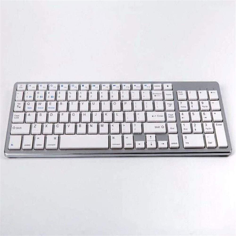 GeWu888 Teclado Modelos Teclado Bluetooth con conexión de Cable inalámbrico de Doble Uso del Teclado de la Tableta del teléfono móvil Universal para la Oficina en casa (Color : Silver White)
