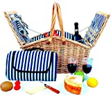Picnic Basket Set - 2 Person Picnic Hamper Set Double Lid - Golden Collection -Waterproof Picnic Blanket Ceramic Plates Metal Flatware Wine Glasses S/P Shakers Bottle Opener Blue Stripe Lining Picnic