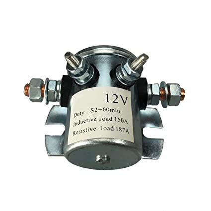 Amazon.com: 150A Continuous Duty Solenoid Relay 4 Terminal For Winch on 12 volt winch switch wiring, 12 volt winch to battery wiring diagram, ramsey pro 8000 winch wiring diagram, runva winch wiring diagram, 12 volt toggle switch wiring diagram,