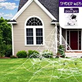 Giant Spooky Scary Funny Spider Web Super Stretch Cobweb Set, Halloween Trick Or Treat Party & Home Decorations for Indoor/Outdoor Yard - Terrify Your Neighbors