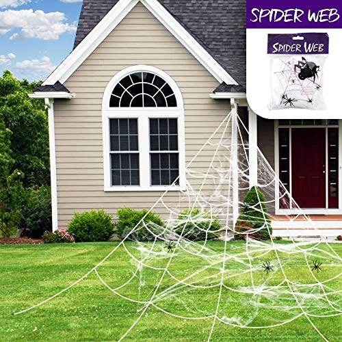 Giant Spooky Scary Funny Spider Web Super Stretch Cobweb Set, Halloween Trick Or Treat Party & Home Decorations for Indoor/Outdoor Yard - Terrify Your Neighbors ()
