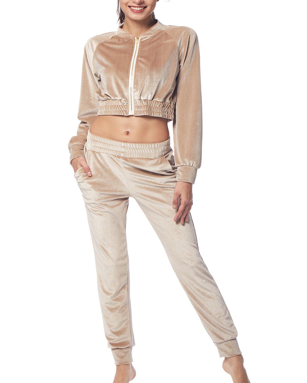 BELLEZIVA Women's Fashion Velour Coat Zip up Pullover Sweat Suit Set
