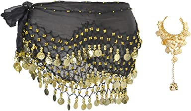 Performance Costume Cosics Belly Dance Skirt 128 Gold Coin Belly Dancer Hip Scarf Solid Color Chiffon Hip Belt Wrap for Zumba