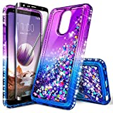LG Stylo 5 Case, Stylo 5X /Stylo 5V /Stylo 5+ Plus Case with Tempered Glass Screen Protector (Full Coverage) for Girls, NageBee Glitter Liquid Sparkle Bling Floating Waterfall Cute Case -Purple/Blue