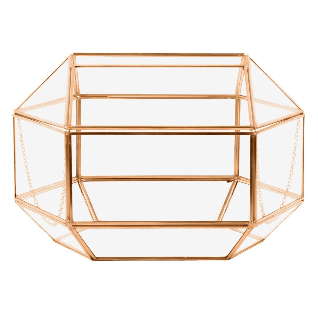 Koyal Wholesale Geometric Glass Wedding Card Gift Box Holder, Reception Drop Box, Modern Lantern Table Décor, Geometric Wedding Decor, Terrarium Planter (Rose Gold, 12 x 9-Inch)