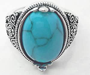 Men's Stainless Steel Silver plated Ring and Turquoise Blue Stone size US 8