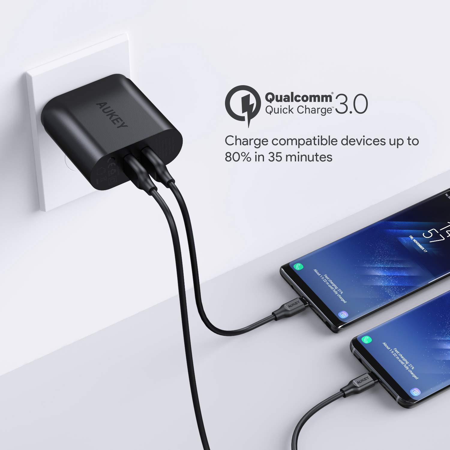Aukey Quick Charge 30 Usb Wall Charger With Dual Ports Compatible Qc Samsung Galaxy Note8 S8 Lg G6 V20 Htc 10 And More Cell Phones