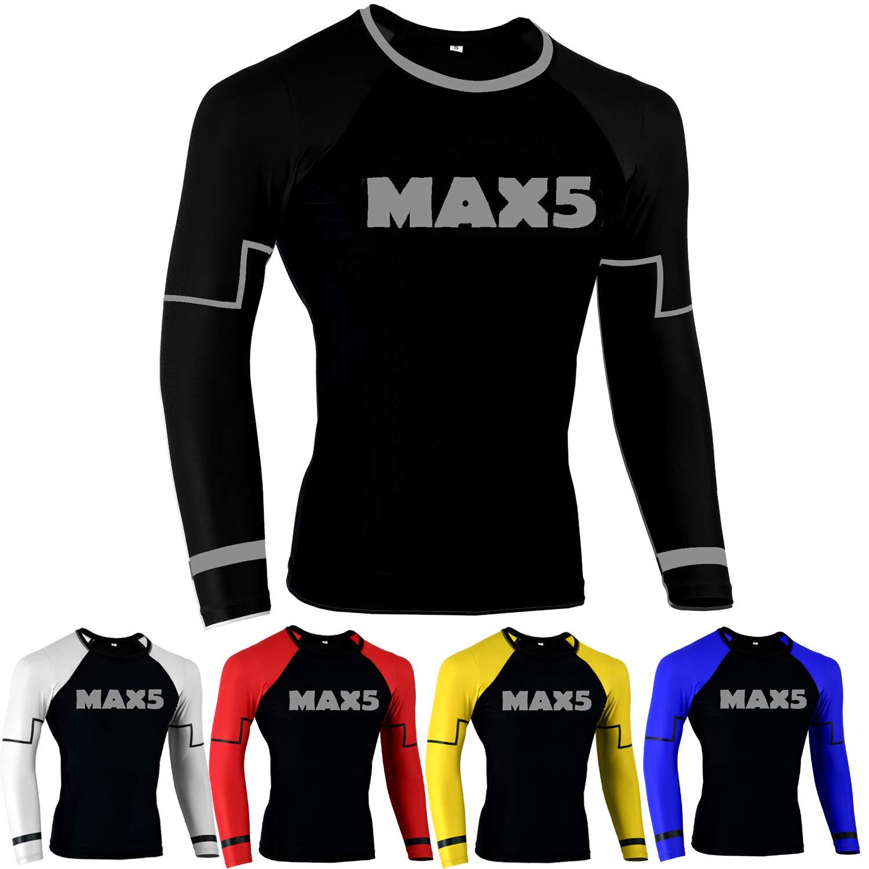 MMA Rash Guard No Gi Jiu Jitsu Fight Shirt (Black, S) by Max5