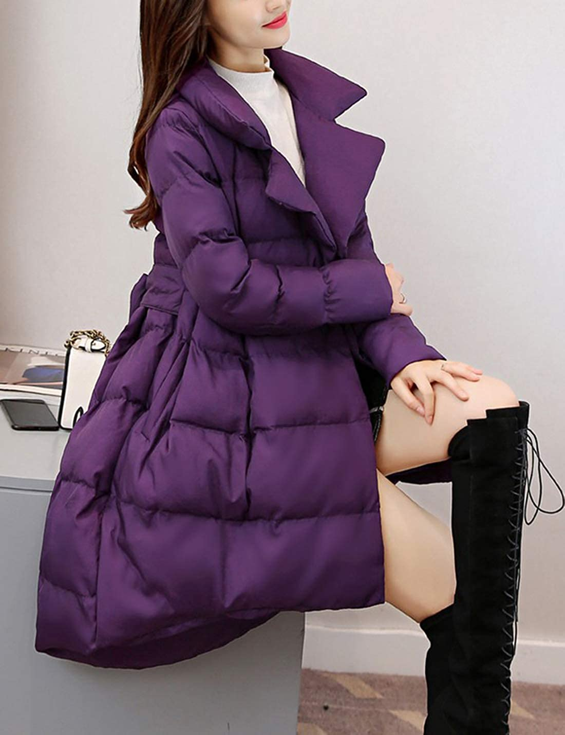 Tanming Womens Lapel Button Snap Cotton Padded Flared Skirt Hem Coat with Belt