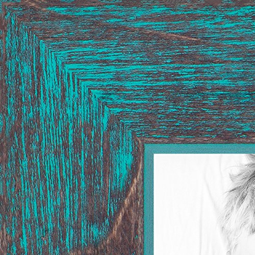 ArtToFrames 8.5x11 inch Aqua Rustic Barnwood Wood Picture Frame, - Picture Frame Aqua