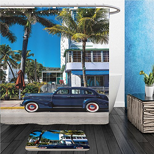 Beshowereb Bath Suit: ShowerCurtian & Doormat Classic American Car on South Beach, - Miami South Macy's Beach