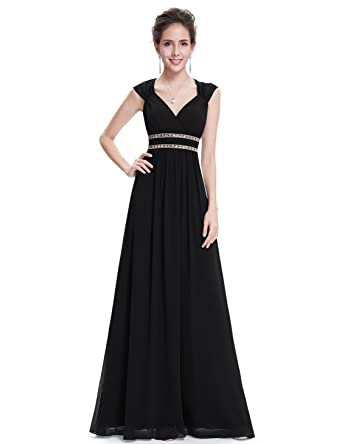 c9953b3124c6b0 Ever-Pretty Womens Cap Sleeve Floor Length Grecian Style Prom Dress 4 US  Black