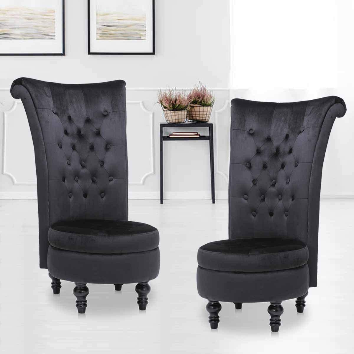 High Back Accent Chair Set of 2, Throne Chair Velvet Chair with Storage for Bedroom Living Room Dressing Table Seat Wood Legs Black 2 PCS