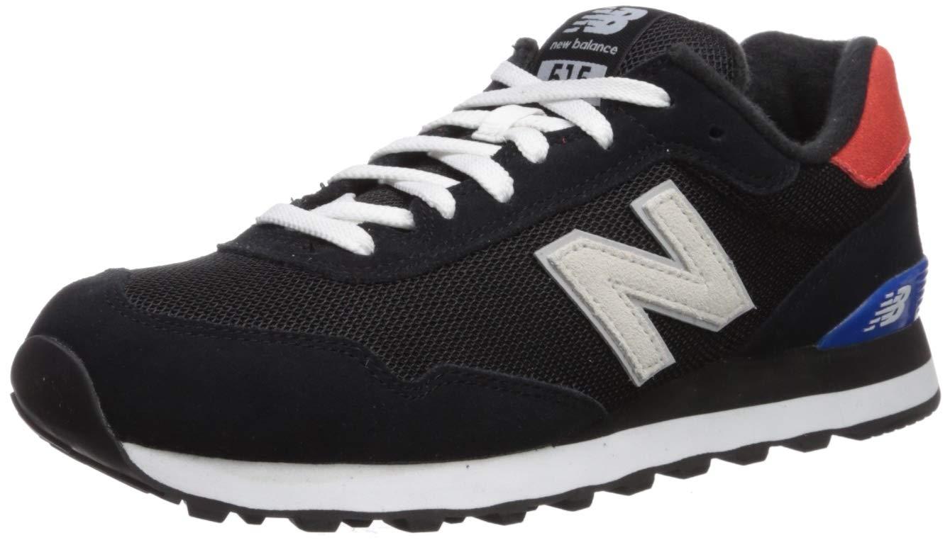 New Balance Men's 515 V1 Sneaker, Black/Energy Red, 8 XW US