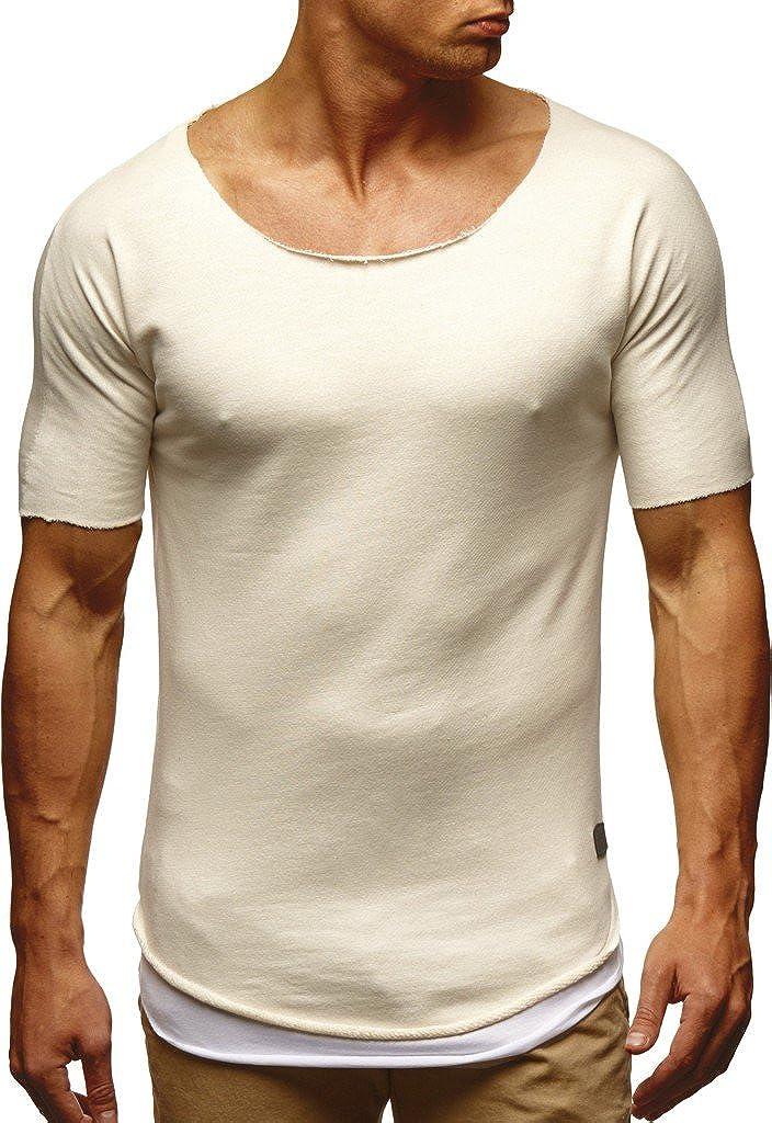 2552640b20221b LEIF NELSON Herren Sommer T-Shirt Rundhals-Ausschnitt Slim Fit  Baumwolle-Anteil
