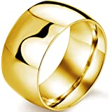 Mens 12mm Classic Gold Wedding Engagement 316L Stainless Steel Ring Dome High Polished Band