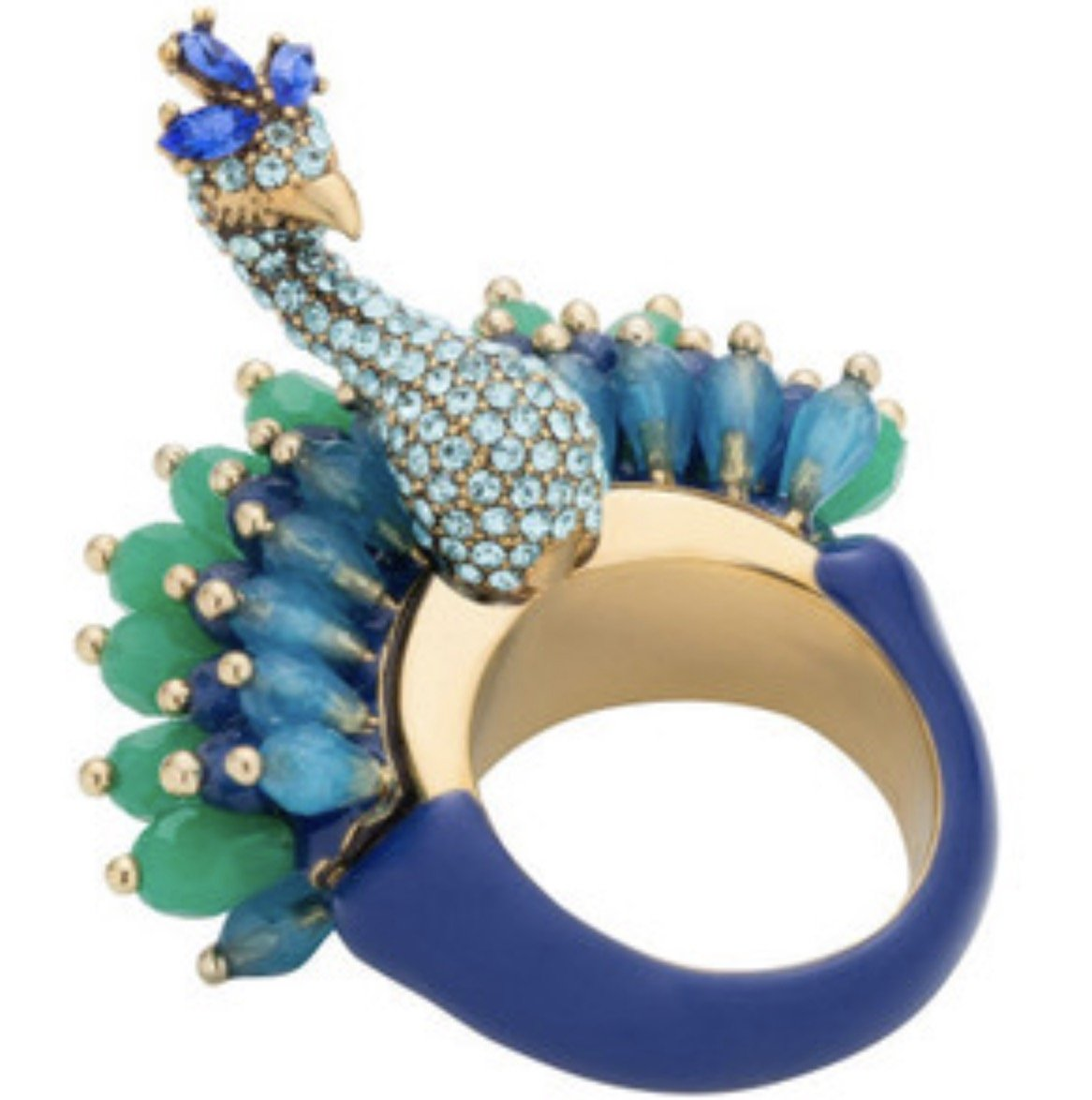 Kate Spade Full Plume Peacock Statement Ring Sz 7 Multi