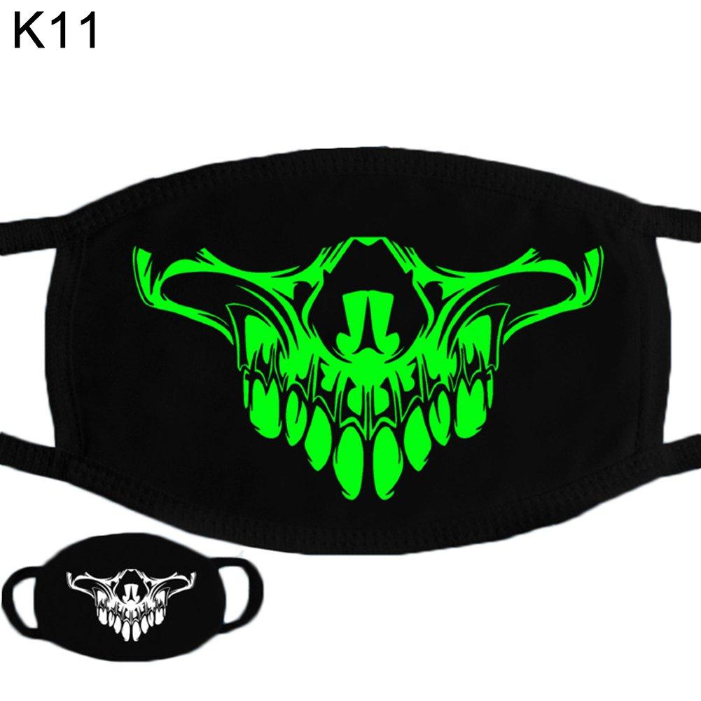 Trenton Halloween Skull Pattern Cool Luminous Unisex Cotton Blend Anti Dust Face Mouth Mask for Man Woman by TRENTON (Image #2)