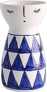 Senliart White Ceramic Vase, Small Flower Vases for Home Décor, 5.9 X 3.2 (Geometric)