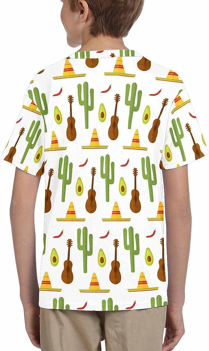 INTERESTPRINT Kids T-Shirts Mexico Guitar Music Cactus Plant Sombrero Hat Avocado Fruit XS-XL
