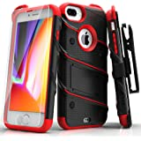 Zizo Bolt Series Compatible with iPhone 8 Plus Case Military Grade Drop Tested Tempered Glass Screen Protector Holster iPhone 7 Plus case Black RED