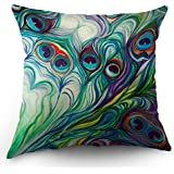 """Moslion Peacock Feather Pillow Case Home Decorative by Oil Paniting Feathers White Blue Pink Throw Pillow Case 18"""" x 18"""" Inch Cotton Linen Cushion Cover for Men Women Kids Green Purple"""