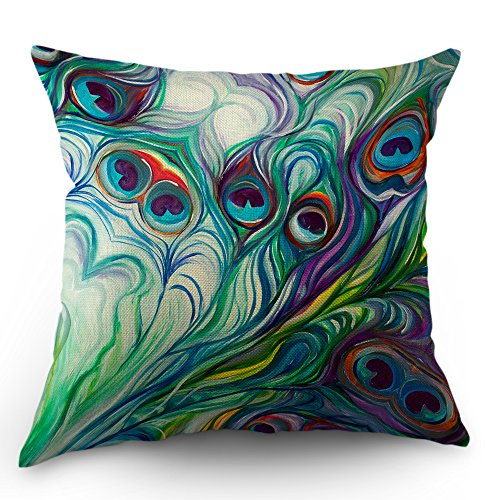 - Moslion Peacock Feather Pillow Case Home Decorative Oil Painting Feathers White Blue Pink Throw Pillow Case 18