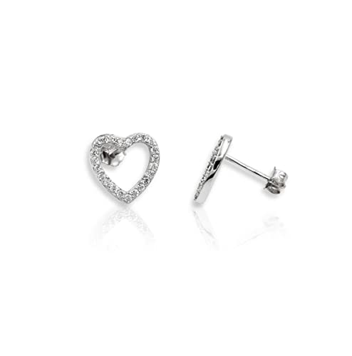 f81329127 Amazon.com: Sterling Silver Micro Pave Cubic Zirconia CZ Open Heart Stud  Earrings 13mm: Jewelry