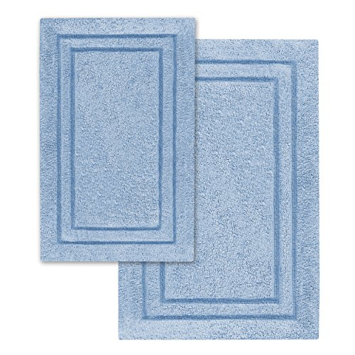 Cotton 2-Piece Bath Rug Set Light Blue
