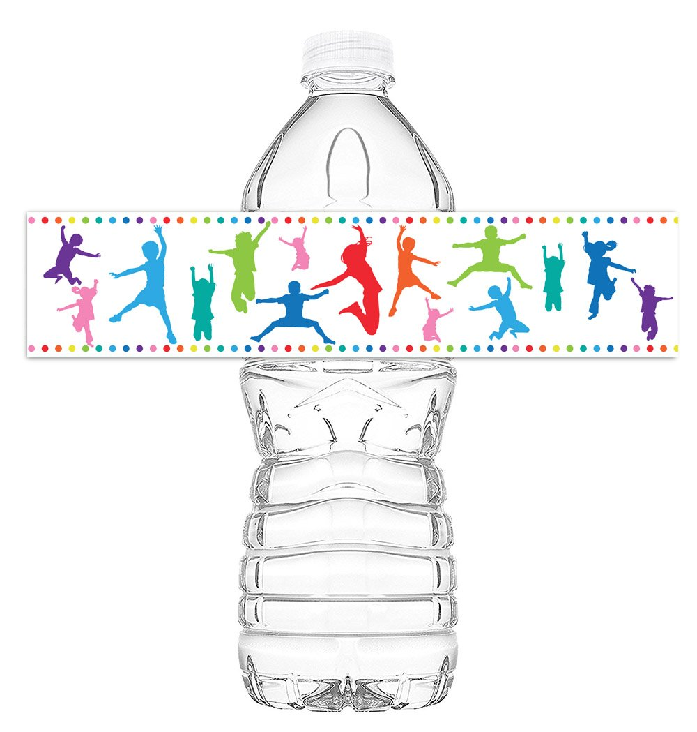 Bounce House Trampoline Decorations POP parties Bounce House Rainbow Trampoline Bottle Wraps Rainbow Party Decorations Made in The USA 20 Birthday Water Bottle Labels