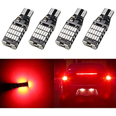 AMAZENAR 4-Pack 921 912 922 T15 W16W T10 Brillant Red 12V-24V Non-Polarity Canbus Error Free AK-4014 45pcs Chipsets LED Bulbs For Car Center High Mount Stop Brake Lights Tail Brake Lights: Automotive