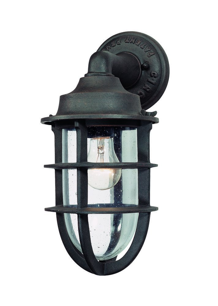 Troy Lighting Wilmington 1-Light Outdoor Wall Lantern - Nautical Rust Finish with Clear Seeded Glass