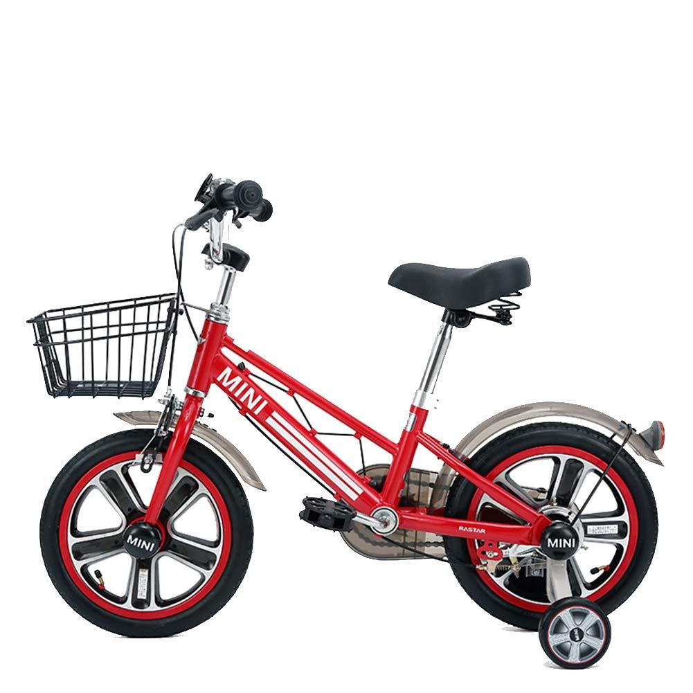 XiangYu Kinderfahrrad, Magnesiumlegierung Material, Doppelscheiben Bremssystem, Einstellbarer Lenker und Sattel + Rutschfestes Hilfsrad Rosa 14inch