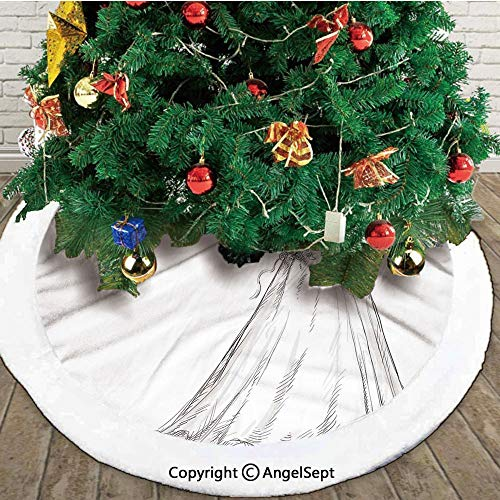 Fairytale Ending of a Love Story Princess Sketchy Bride with Flowers Image, Christmas Tree Skirt,Black and White,48 inches,New Year Christmas Party Holiday Decoration