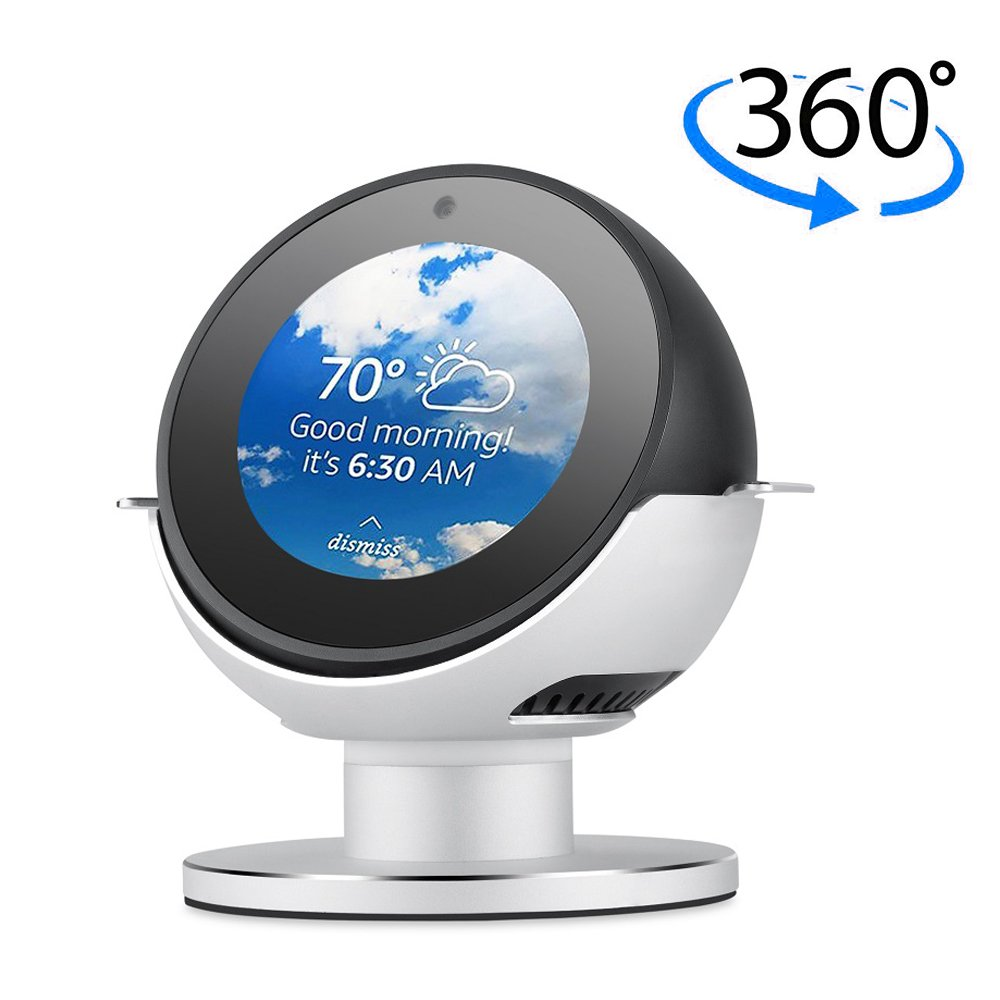360 Degree Rotating Echo Spot Stand Mount,LUXACURY Echo Accessories Protective Strong Magnetic Base for Echo Spot Bracket with Smooth Precision Ball Bearings Premium Aluminum Black -Luxacury