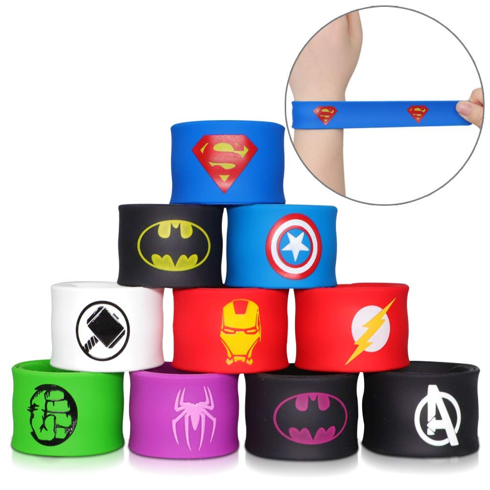 POKONBOY Superhero Slap Bracelets for Kids Party favors - 24 Pack Slap Bracelets for Boys Girls Kids Super Hero Birthday Party Favors Supplies Carnival Boys Prizes by POKONBOY (Image #6)