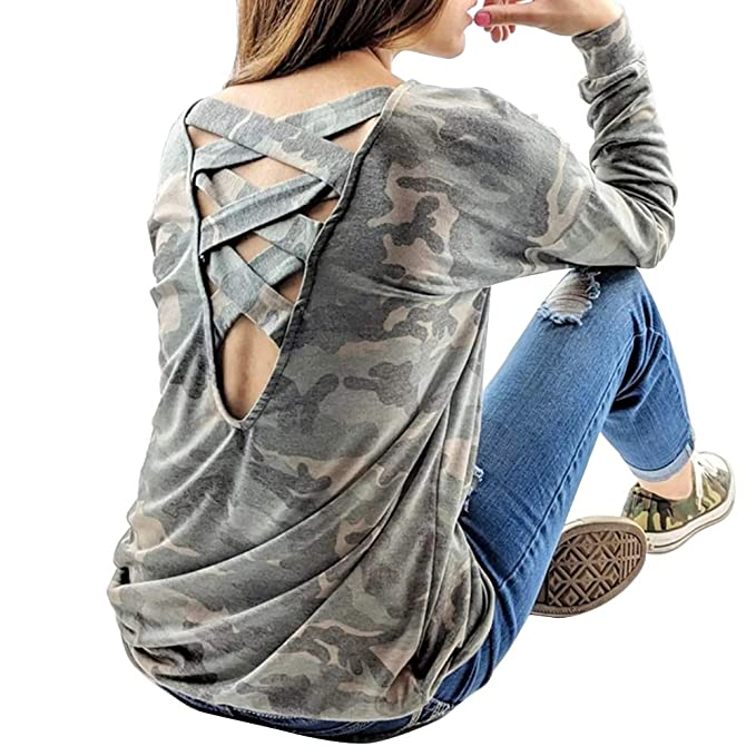 c4632ad5d17 Okvpajdo Womens Criss Cross Back Long Sleeve Crew Neck Camouflage Casual  Shirts Tops Blouse Tunics Pullovers at Amazon Women's Clothing store: