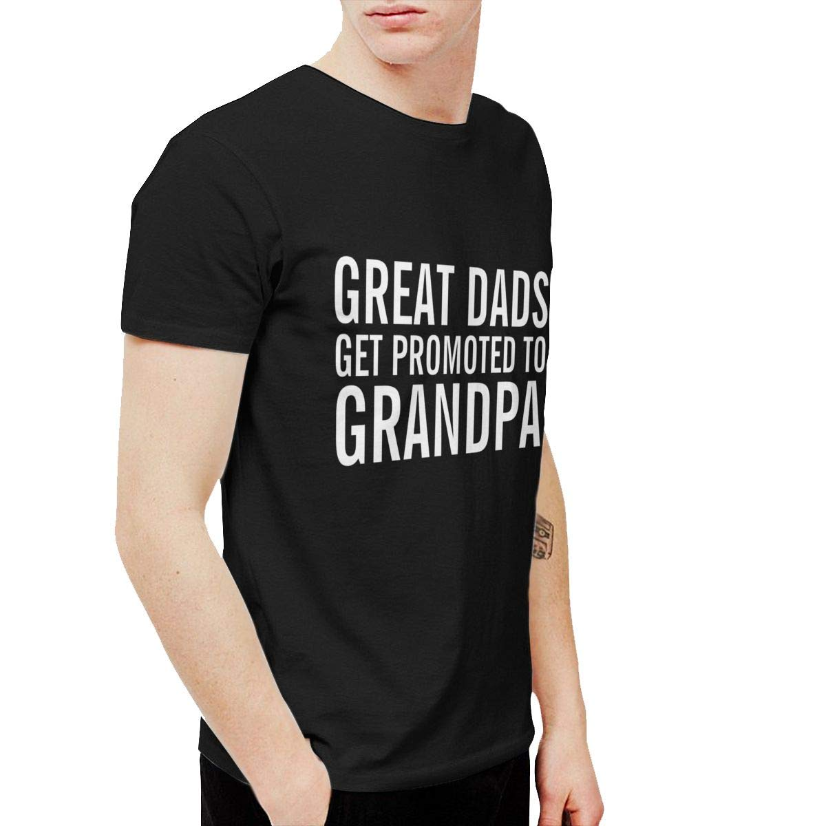 Shuaihong Great Dads Get Promoted To Grandpa Men Leisure Tshirt Black