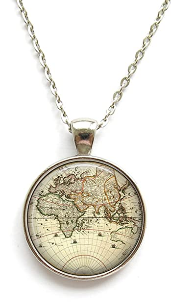 Vintage world map necklace old world map pendant necklace amazon vintage world map necklace old world map pendant necklace gumiabroncs Gallery