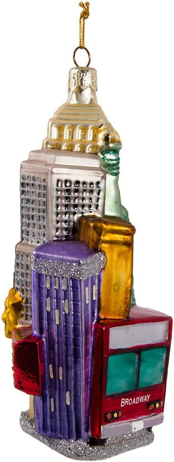 C4170 Adler Inc Kurt Adler NYC Cityscape Glass Ornament 5.35-Inch Kurt S